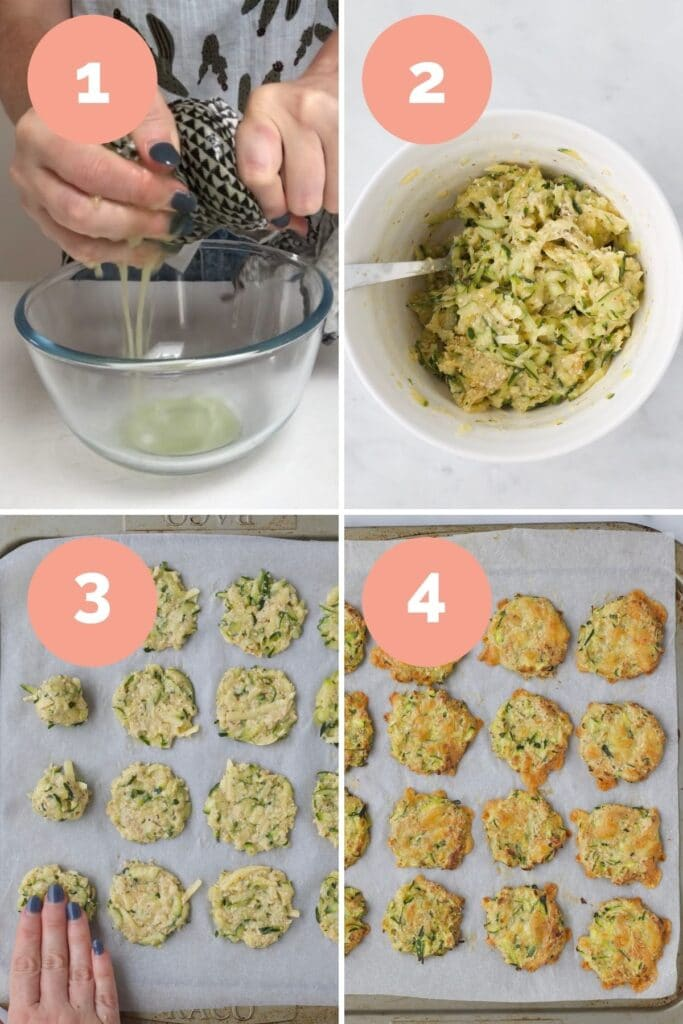 Collage of 4 Images Showing How to Make Zucchini Bites (1) Squeeze Liquid from zucchini 2) Mix Ingredients Together 3) Form Bites 4) Bake