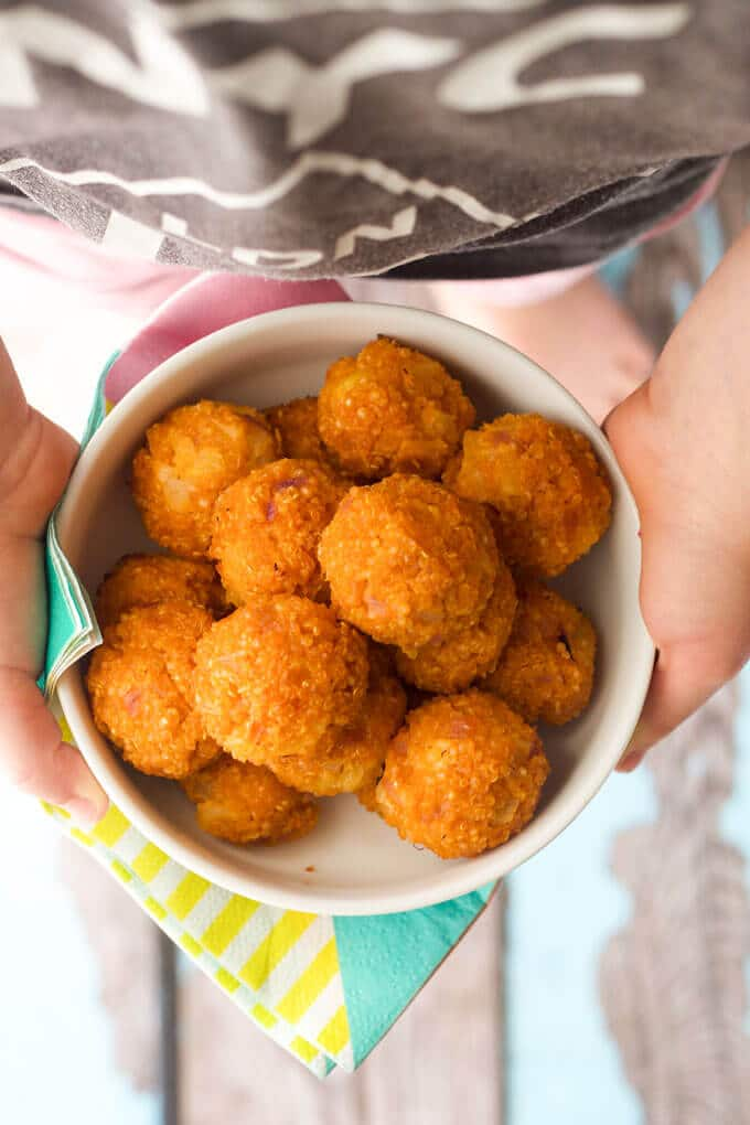sweet and sour quinoa balls. Perfect for a lunch box, finger food or as mart of a main meal. Great for kids and for baby-led weaning (blw)