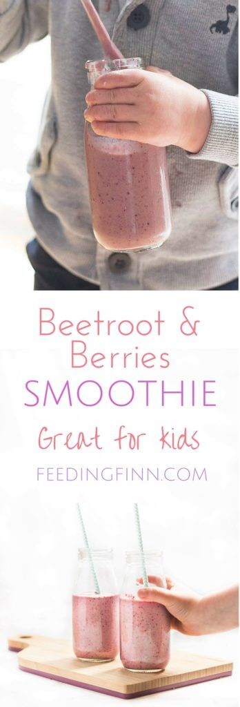Beet and berries smoothie. Beetroot blended with banana, frozen berries and a handful of spinach. Great for kids