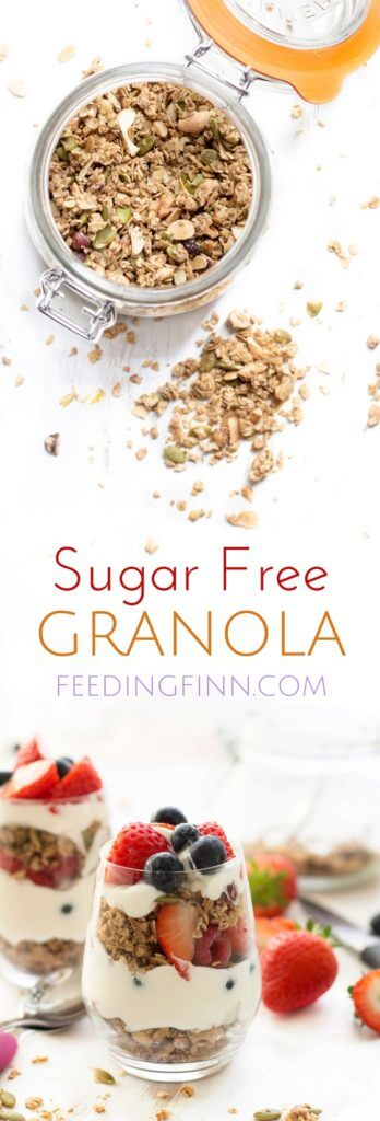 This sugar free granola has no sugar or sweetener. Perfect for kids or adults and delicious served with yoghurt and fresh fruit. A healthy breakfast.