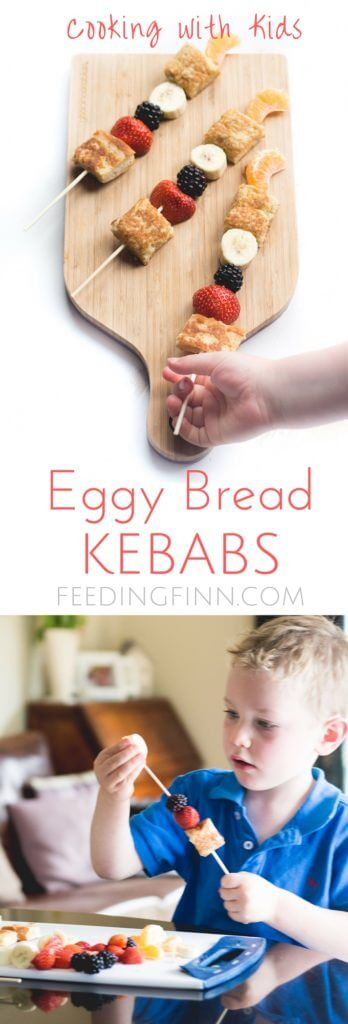 Eggy bread kebabs (french toast kebabs) are a great breakfast to make with your kids. They will love cracking eggs, whisking, dipping , frying and skewering. Kids in the kitchen