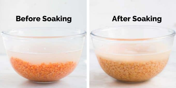 Lentils in Bowl Before and After Soaking Overnight