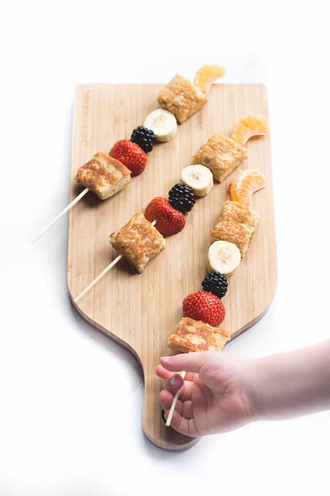 Eggy bread kebabs is a great breakfast to make with your kids. They will love cracking eggs, whisking, dipping , frying and skewering.
