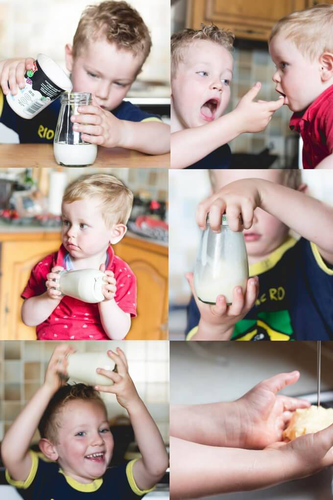 Kids Shaking Jar of Cream to Make Butter