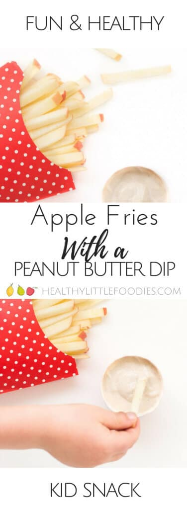 Apple fries with a peanut butter dip. A healthy and fun snack for kids using only 3 ingredients. fun food for kids