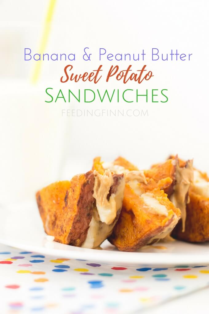 Banana peanut butter sweet potato sandwiches. Slices of roasted sweet potato filled with peanut butter and banana. A great kids snack and healthy snack. Good for blw (baby led weaning)