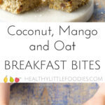 These coconut mango oat breakfast bars are a great start to the day. Sweetened only with fruit. Great for BLW (Baby led weaning) and lunch box friendly.