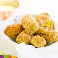Veggie Nuggets in Bowl with Dip in Backgrond