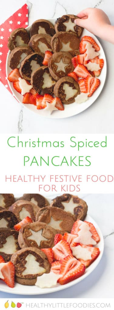 Christmas Spiced Pancakes, a fun and healthy Christmas snack for kids. No refined sugar. Gluten Free.