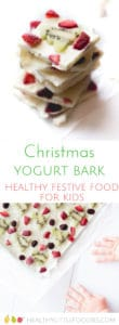 Christmas Frozen Yogurt Bark, a healthy festive food for kids. A fun way to get the kids in the kitchen. #kidsfood #kidschristmasfood #healthychristmas