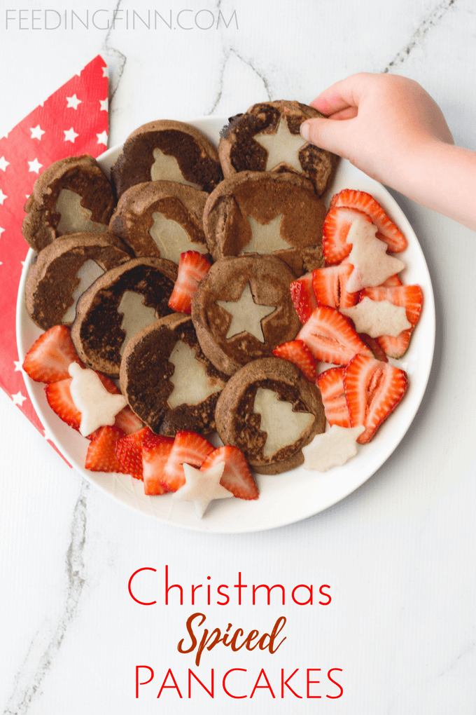 Christmas spices pancakes. Delicious ginger and cinnamon spiced buckwheat pancakes with pear Christmas shapes. A fun festive food for kids. No refined sugar.