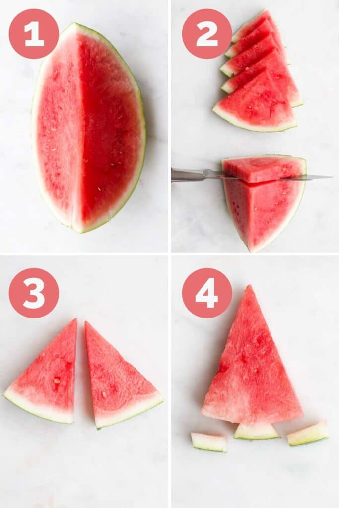 Collage of 4 Images Showing How to Cut a Watermelon Tree 1) Cut watermelon into quarters 2)Slice melon into triangles 3) Cut each triangle in half 4)Remove outer edges of rind to make stump