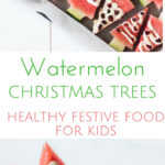 These watermelon Christmas Trees are a fun activity to do with kids and a healthy festive snack for them to enjoy