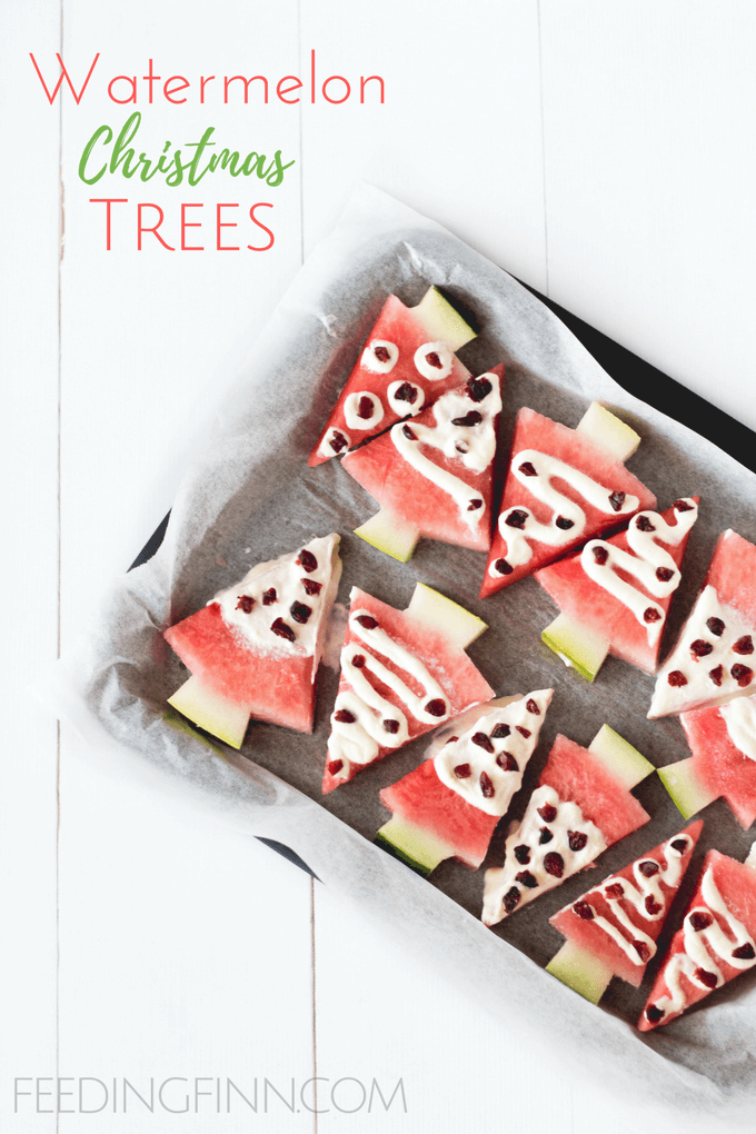 watermelon christmas trees. healthy christmas snacks for kids.