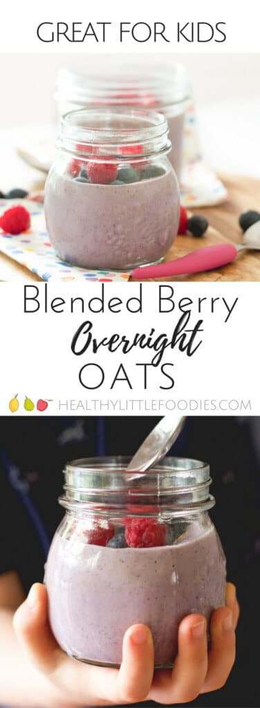 Blended berry overnight oats. A great breakfast for kids - made the night before so easy and quick in the morning. Smooth for kids that don't like lumpy textures. Added ground almonds for protein.