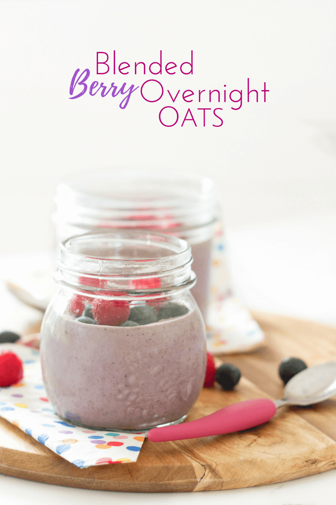 Blended berry overnight oats. A great breakfast for kids - made the night before so easy and quick in the morning. Smooth for kids that don't like lumpy textures. Added almonds for protein.