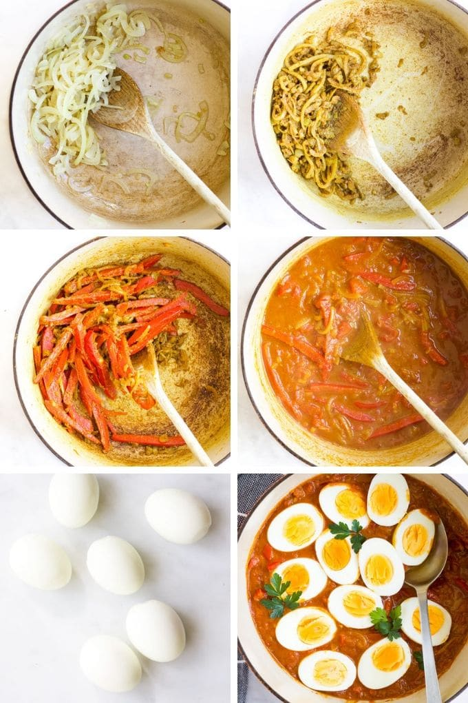 Collage of 6 Photos Showing How to Make Egg Curry Process Steps