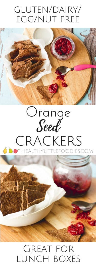 Orange seed crackers are a great snack for kids to addition to a lunch box. Packed full of seed for fibre and protein. Delicious with raspberry chia jam