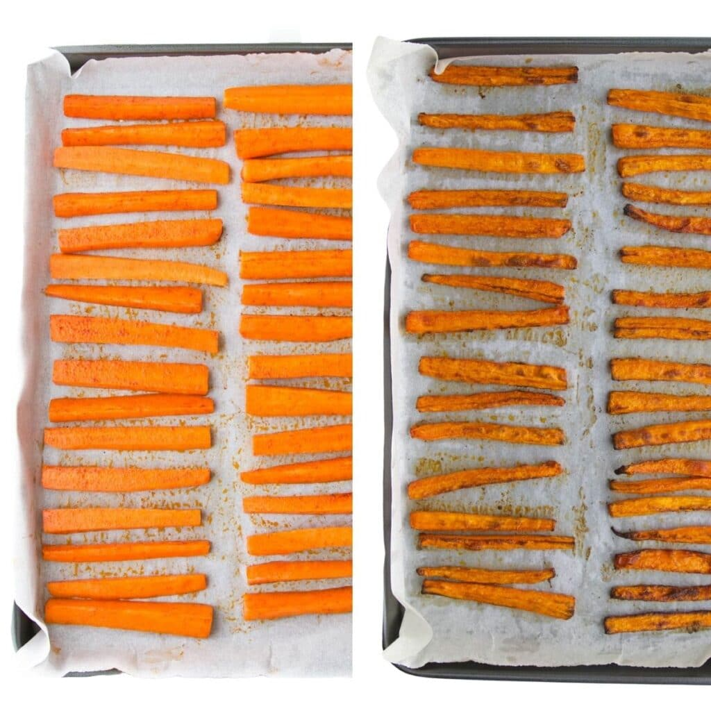 Carrot Fries on Sheet Pan Before and After Cooking