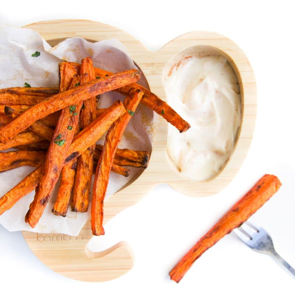 Carrot Fries on Toddler Plate with Dip