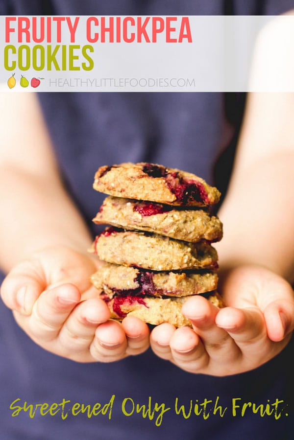 Chickpea Cookies with added Fruit. No refined sugar, high protein, egg free, gluten free #chickpeacookies #norefinedsugar #sugarfreecookies