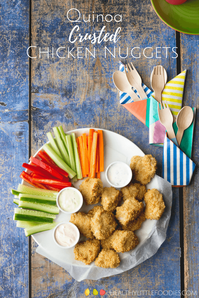 Quinoa Crusted Chicken Nuggets on Plate with Veggies and Dips