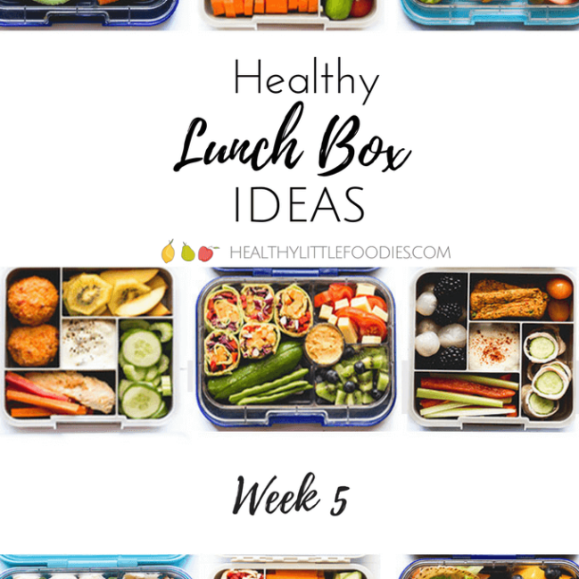 Healthy lunch box ideas week 5. Packed full of veggies and fruit. No refined sugar, kid friendly.