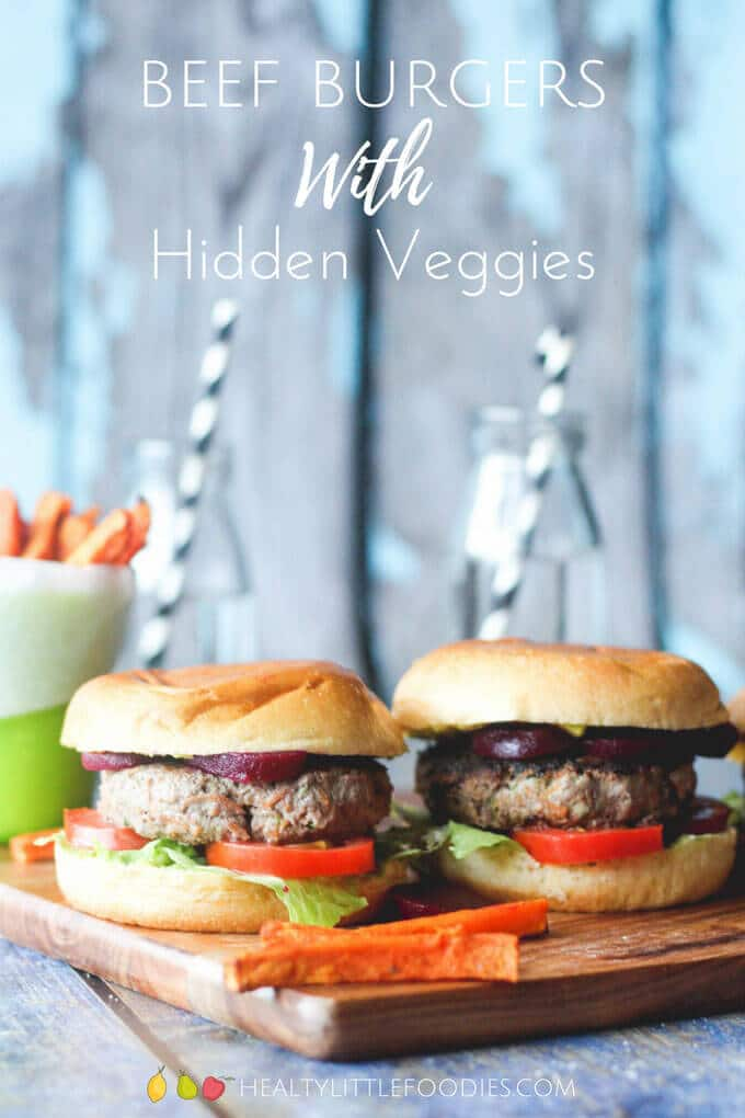 Hidden veggies Beef burgers are a kids meal made healthier. Serve with more veggies and veggie fries to make this a n even healthier kids meal