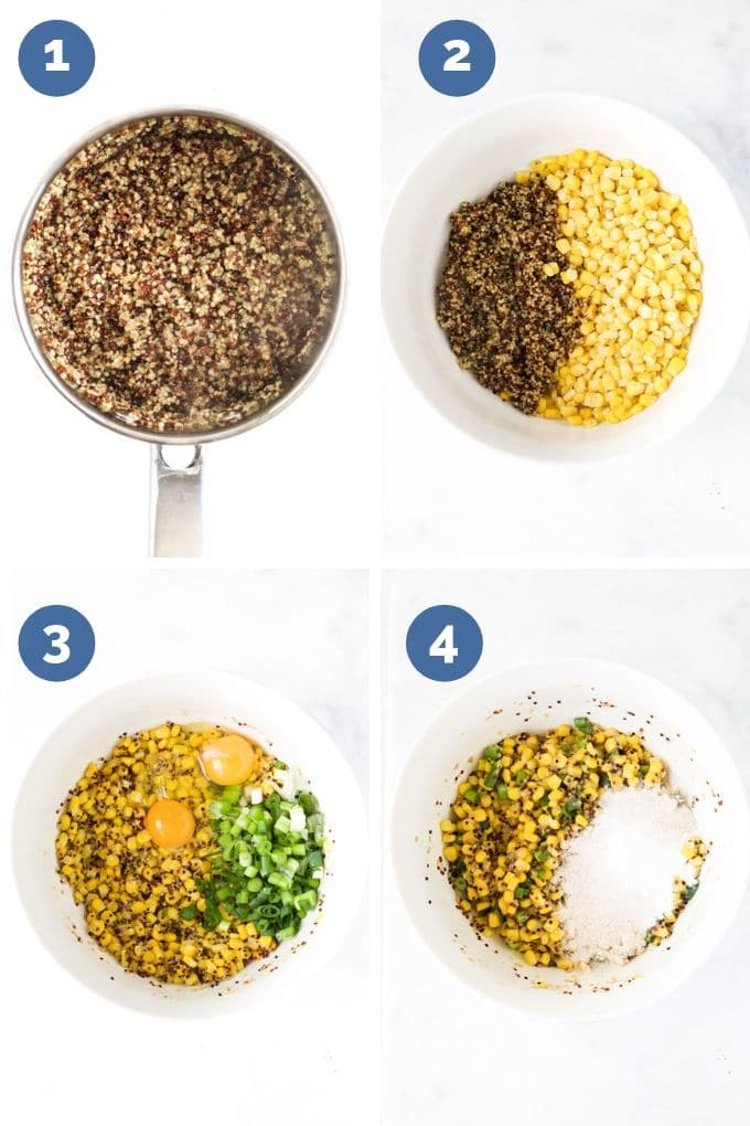 Sweetcorn Fritters Mixing Process Steps