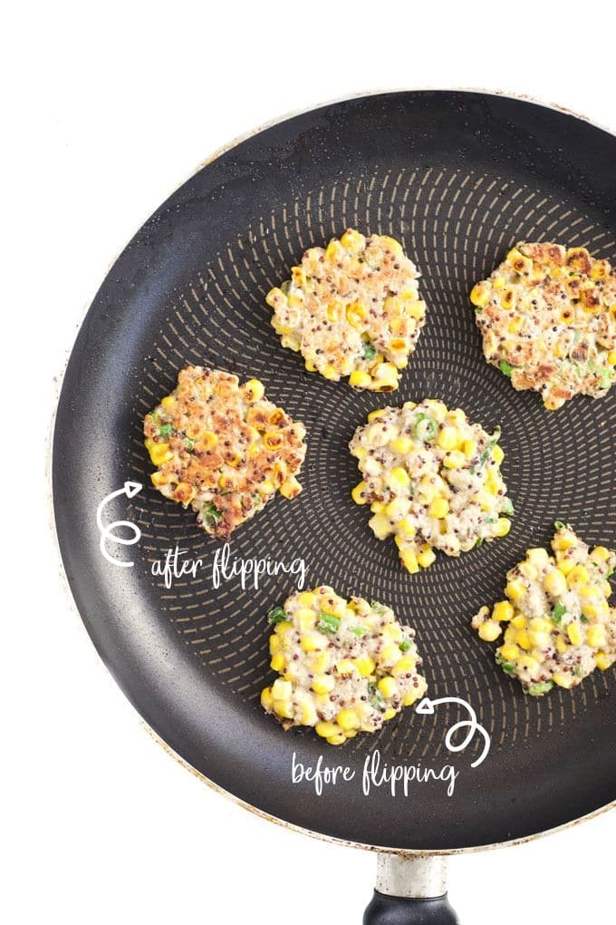 Sweetcorn Fritters in Pan Before and After flipping