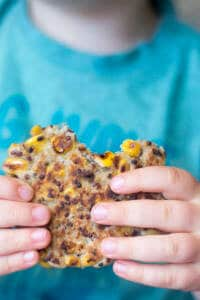 Sweetcorn quinoa fritters are made with store cupboard / freezer ingredients and are easy to make. Great for baby-led weaning, toddlers and for lunch boxes