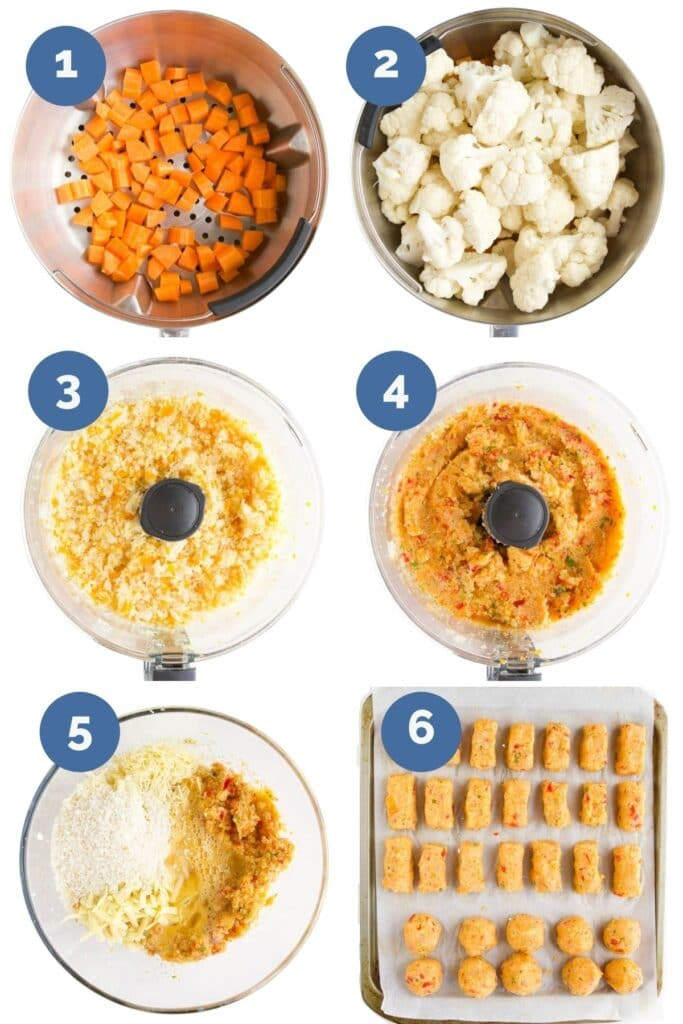 Collage of Six Images Showing How to Make Cauliflower Tots