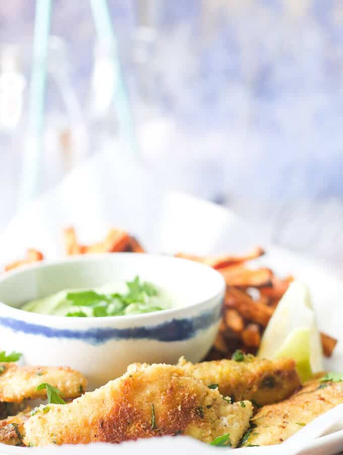 fish finger with an avocado dip. A delicious kid friendly meal made healthier. Healthy kids food.