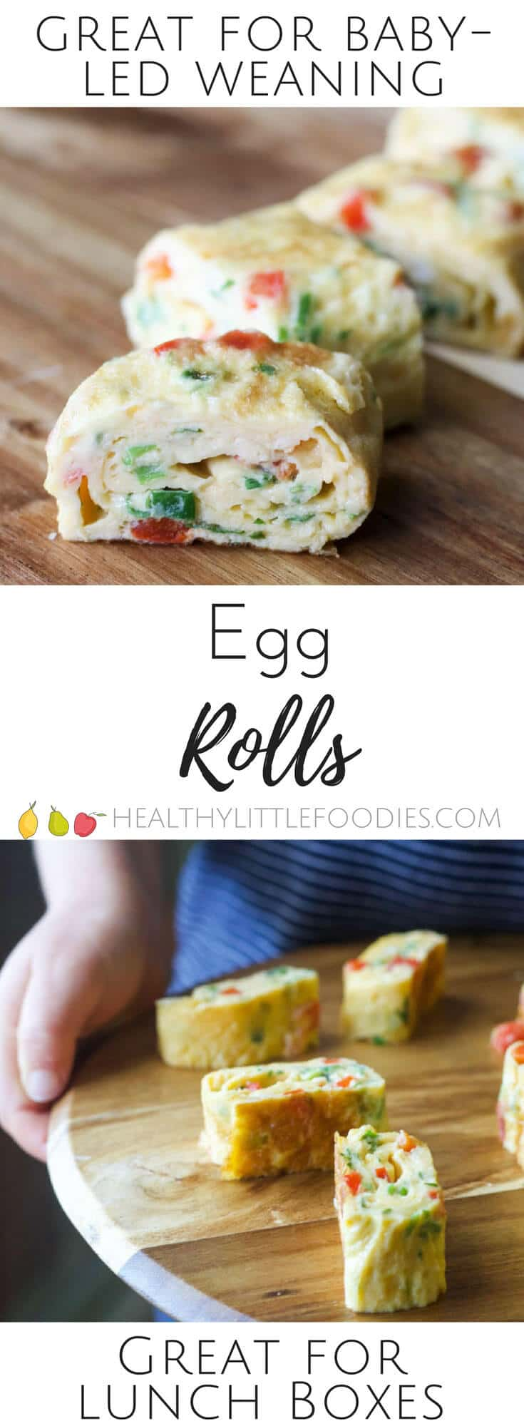 Little egg rolls are a perfect finger food for kids. Great for baby-led weaning or for adding to a lunch box. A dd your favourite omelette add ins.