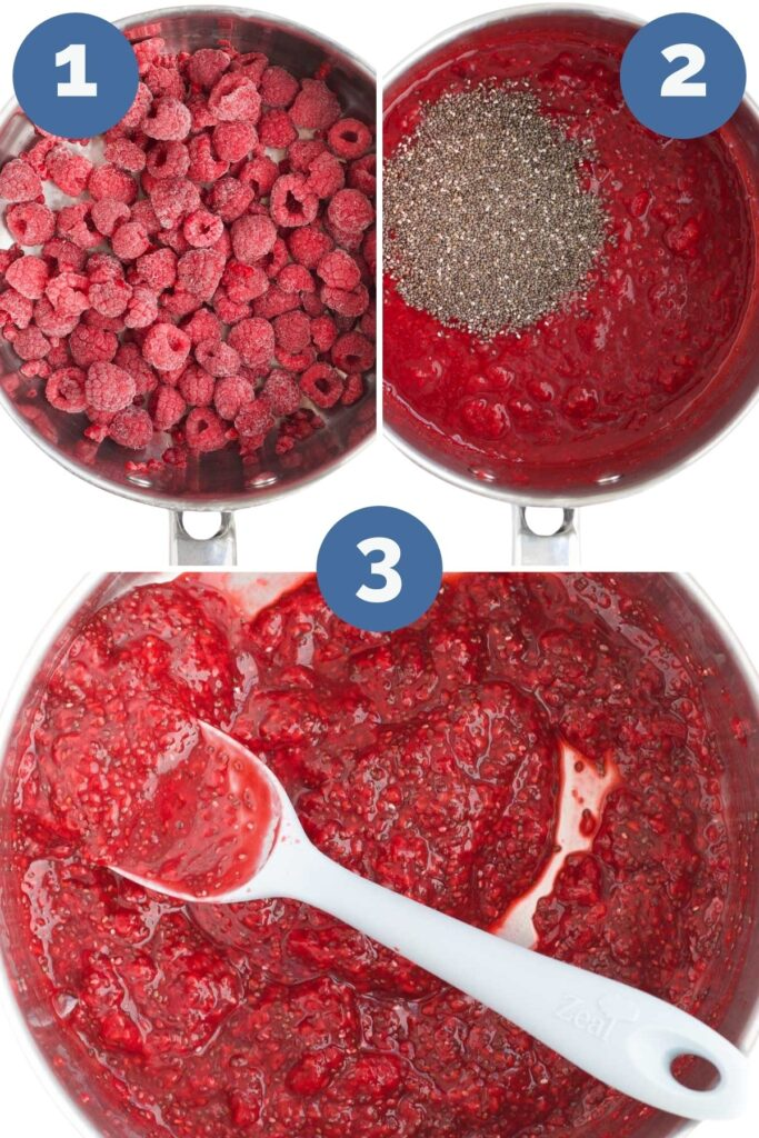 Collage of 3 Images Showing the Process Steps for Making Chia Jam. 1) Heat fruit until soft 2)Add Chia Seeds 3) Stir and Allow to Cool