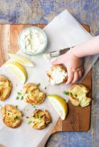 Smashed Potatoes with a Lemon herb Dip