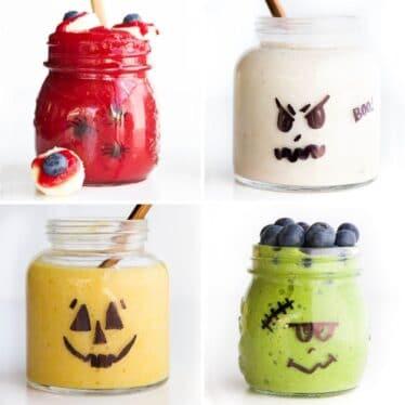 4 Fun Halloween Smoothies 1) Bloodshot Eye 2)Ghost 3)Pumpkin and 4)Frankenstein