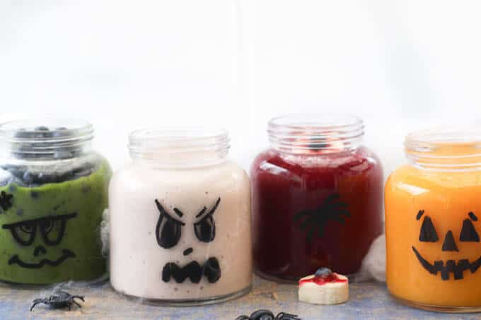 healthy halloween smoothies all with hidden veggies. A fun and healthy halloween treat