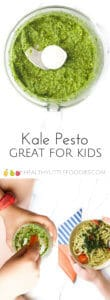 kale pesto. Great as a dip, spread or as a pasta sauce for kids. Easy, 5 min sauce. #kidsfood #kidfood #healthykidsfood #dairyfree