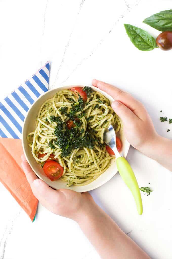 Kale pesto, a great pasta sauce for kids