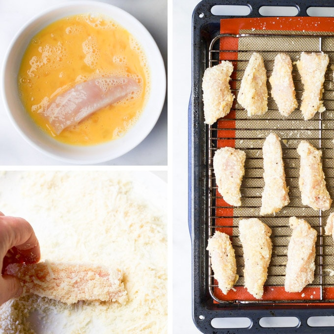 Parmesan chicken strips. Coating steps