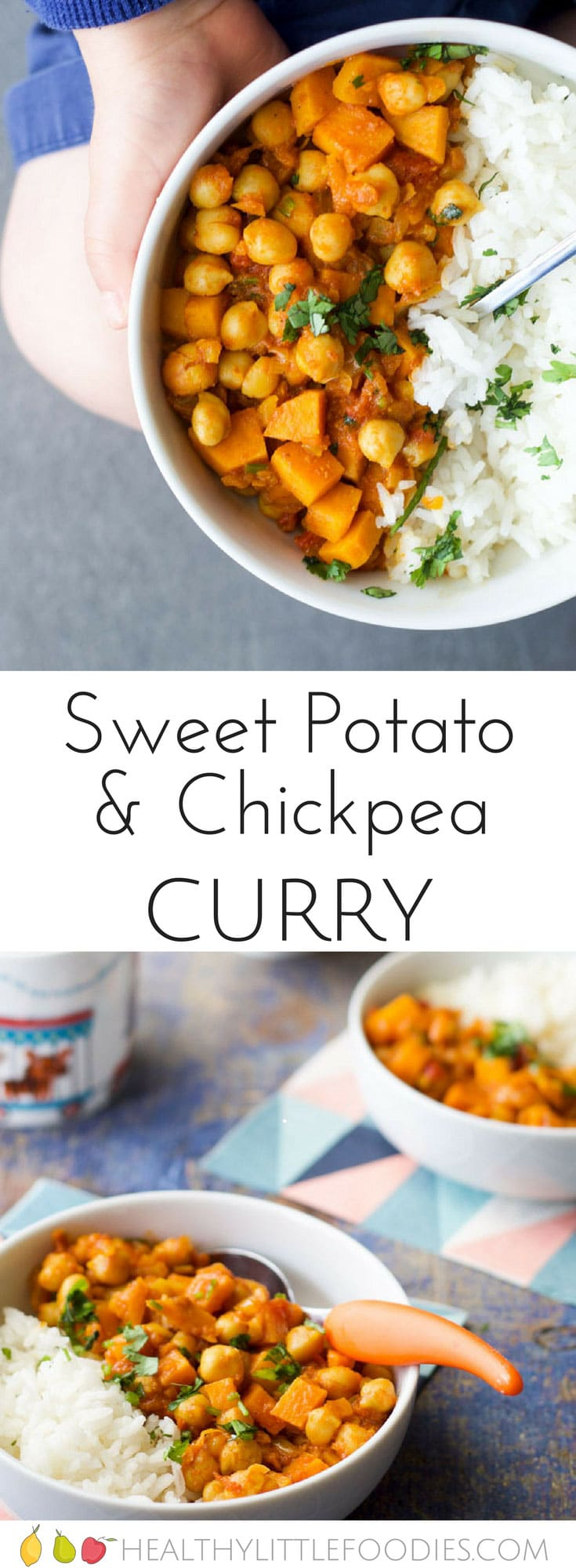 sweet potato and chickpea curry, for kids. Sweet potato adds a hint of sweetness which works great with the spices. A quick and tasty meal for the whole family.