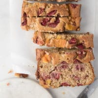 Healthy Strawberry Mango Banana Bread. No refined sugar, sweetened only with fruit. Great for baby-led weaning. Lunchbox friendly