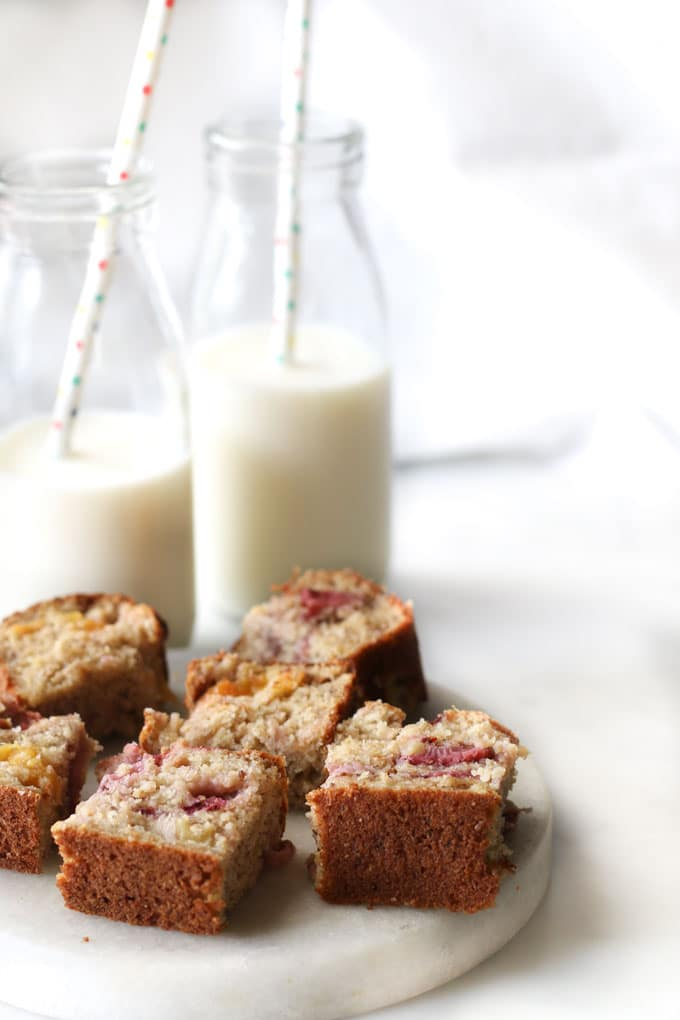 Healthy Strawberry Mango Banana Bread cut into bite size pieces.