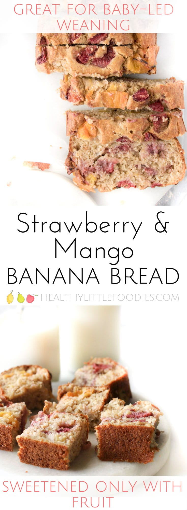 Healthy Strawberry Mango Banana Bread. No refined sugar, sweetened only with fruit. Great for BLW (Baby-led weaning) or for lunch boxes.