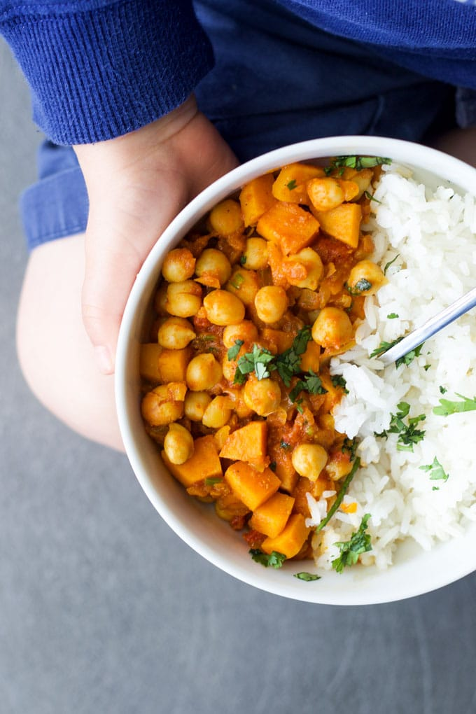 sweet potato chickpea curry for kids.