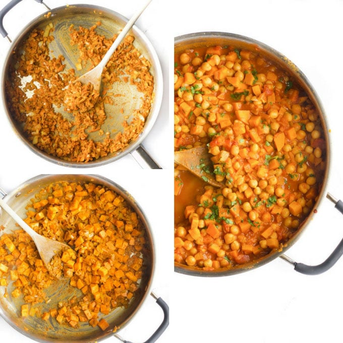 sweet potato chickpea curry process steps