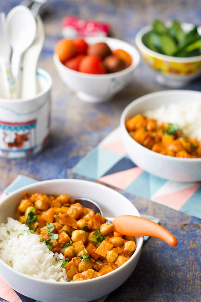 sweet potato chickpea curry for kids