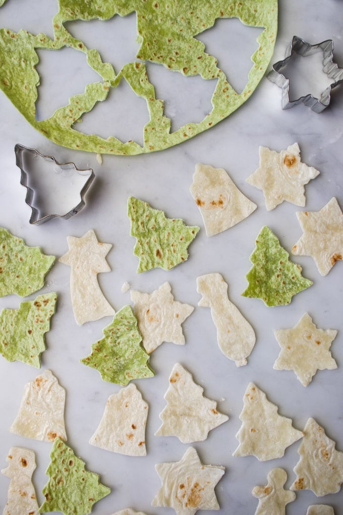 Tortilla Wrap Cut into Christmas Shapes