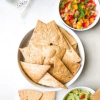 Bowl of Tortilla Chips with Guacamole and Fruit Salsa Dip